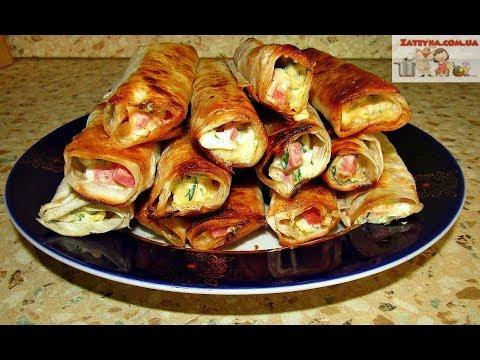 ЗАКУСКА  в ЛАВАШЕ с Колбасой, Сыром и Яйцами - Вкусные Жареные РУЛЕТИКИ за 15 минут!!!