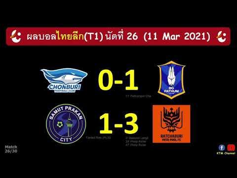 ผลบอลไทยลีกล่าสุด นัดที่26 : บีจีบุกอัดชลบุรี ราชบุรีไล่ขยี้สมุทรปราการ(11 Mar 2021)