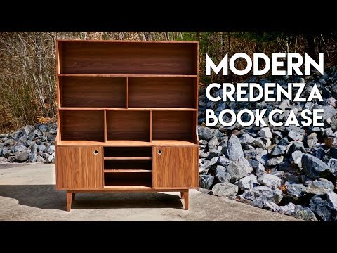 Building A Modern Credenza Bookcase // How To - Woodworking