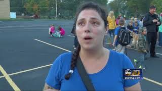 Elementary students take part in Walk to School Day