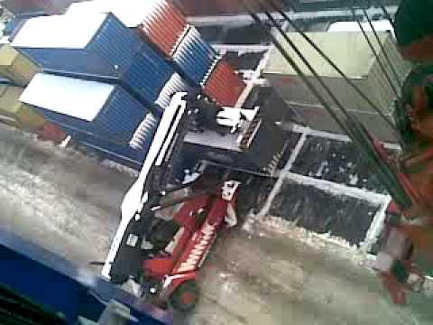Superstacker at winter. Odessa port.mp4