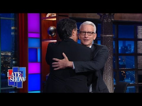 Anderson Cooper and Stephen Colbert Hug It Out