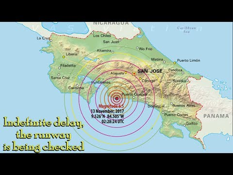 Earthquake hits Costa Rica + Bad Weather + Green Laser on final...