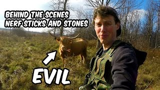 Evil Cow ate my Nerf Arrows! | Behind the Scenes: Nerf Sticks and Stones