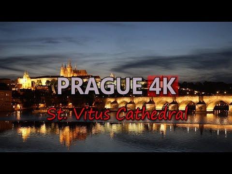 Ultra HD 4K Prague Travel St Vitus Cathedral Czech Republic Tourism Landmark UHD Video Stock Footage