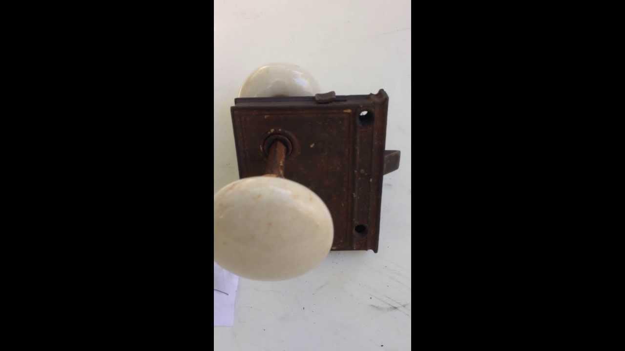 Vintage White Ceramic Door Knob Pair with lock Mechanism - YouTube