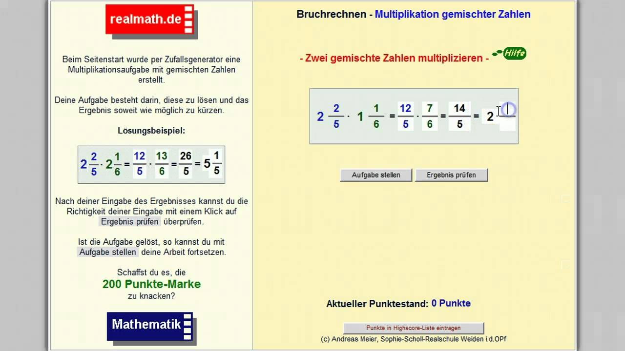 Gemischte Zahlen multiplizieren - realmath.de - YouTube