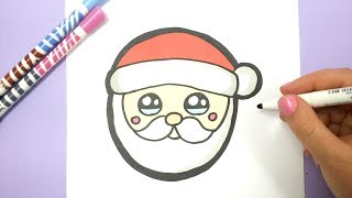 HOW TO DRAW SANTA HEAD EMOJI CUTE AND EASY