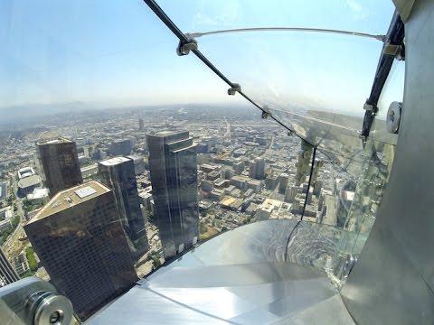 Skyspace La Slide >> Riding down the OUE Skyspace LA Skyslide 1,000 feet above ground. - YouTube
