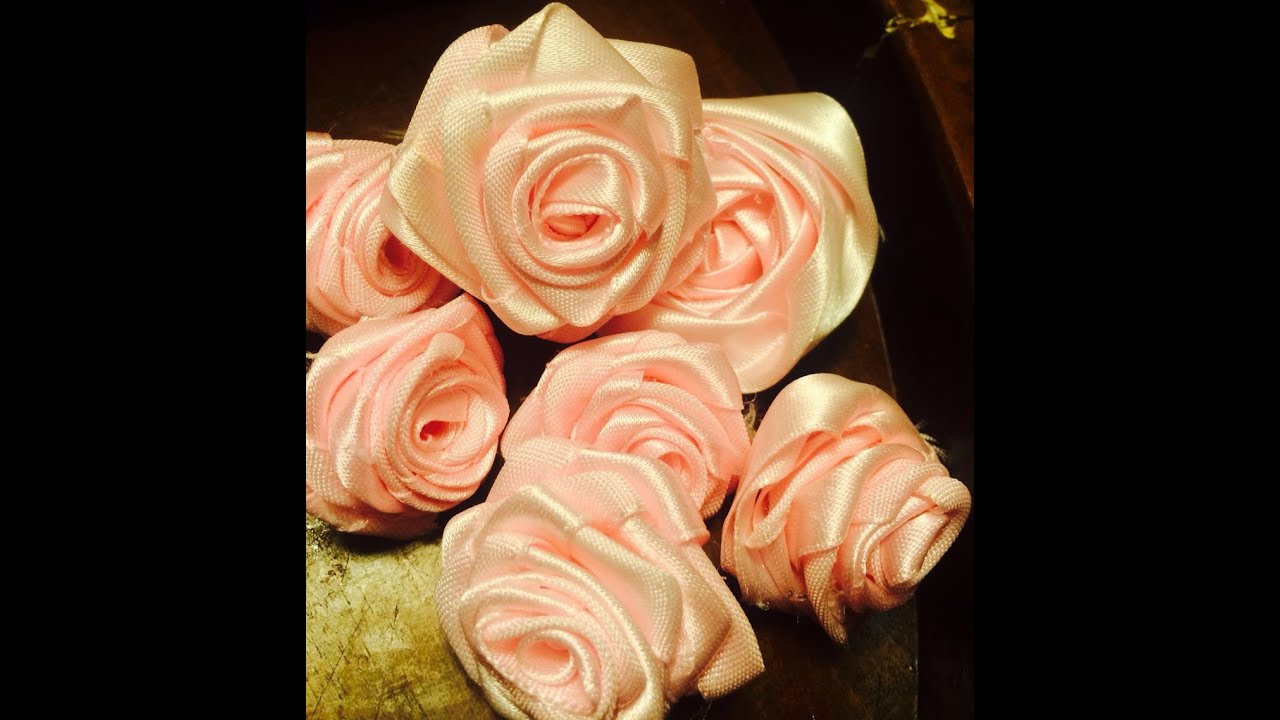 Diy Ribbon Rolled Rose Fabric Satin Ribbon Flower How To Make Ribbon