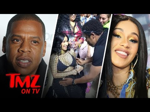 JayZ Rubs Cardi Bs Belly!!  TMZ TV