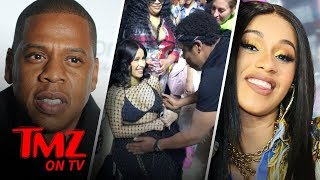 Jay-Z Rubs Cardi B's Belly!! | TMZ TV