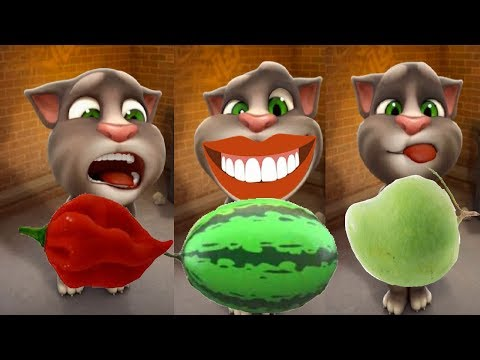 My Talking tom cat, how to draw fruits, chilli,watermelon, banana and Mangoes, tom cat lovable momen