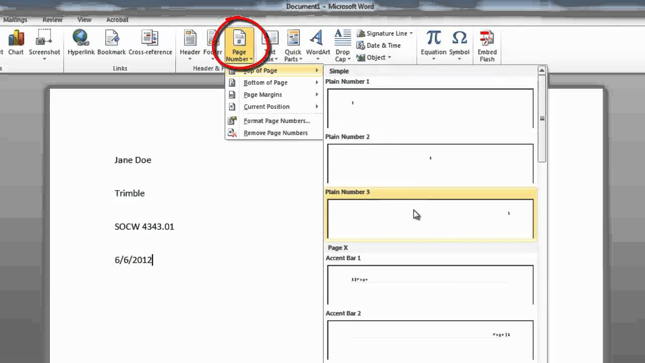 Adding a header and page numbers in mla format in word for Pages for windows