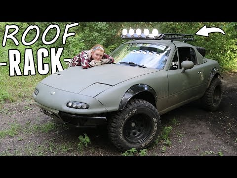 Lifted Miata Gets Custom Roof Rack & Lights!