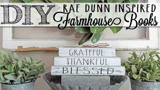 DIY Rae Dunn Inspired Farmhouse Books | Dollar Tree Craft