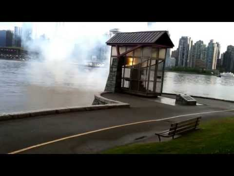 Nine o'clock gun fires at Stanley Park in Vancouver, BC