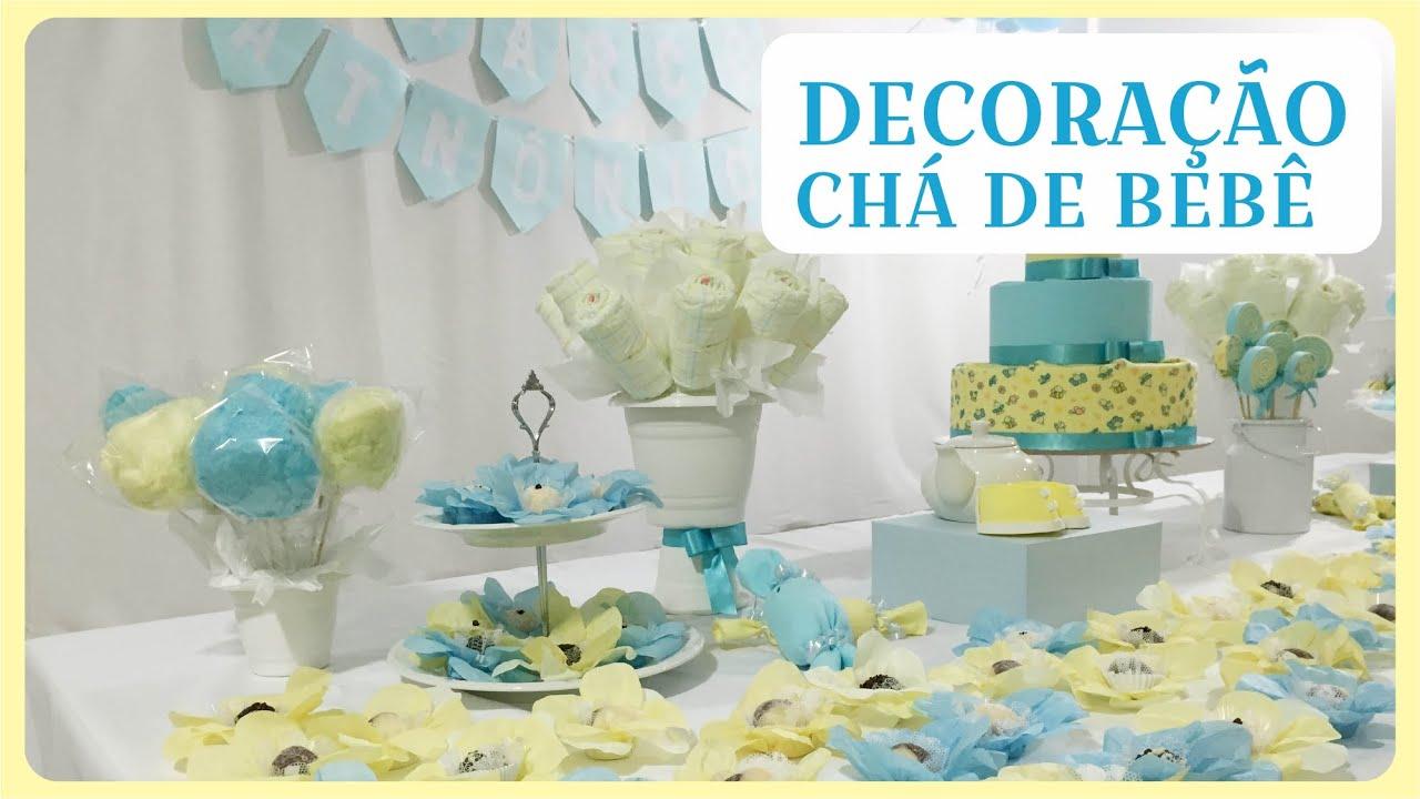 Como fazer Decoraç u00e3o para Chá de Beb u00ea YouTube -> Decoração Para Chá De Fraldas Masculino Passo A Passo