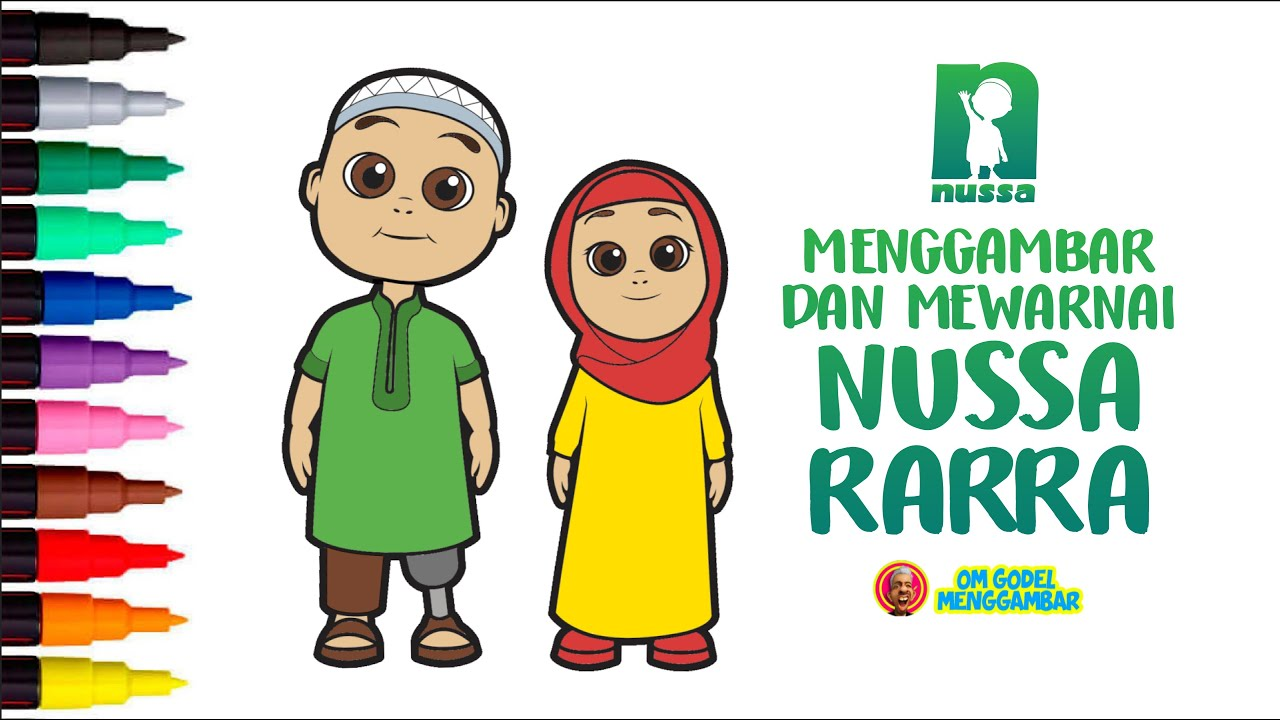 Drawing And Coloring Nussa And Rarra Indonesian 3D Islamic Animation For Kids