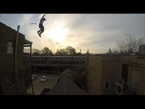 Stuntman's Amazing Rooftop Leap Caught on GoPro Camera