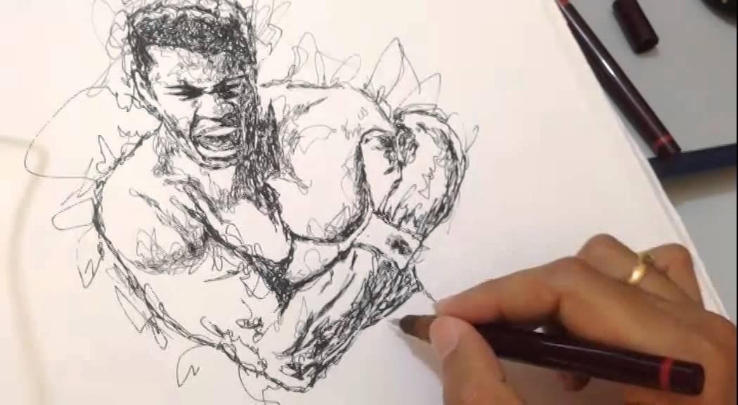 Scribble Drawing Process : Muhammad ali scribble drawing sandesh designs youtube