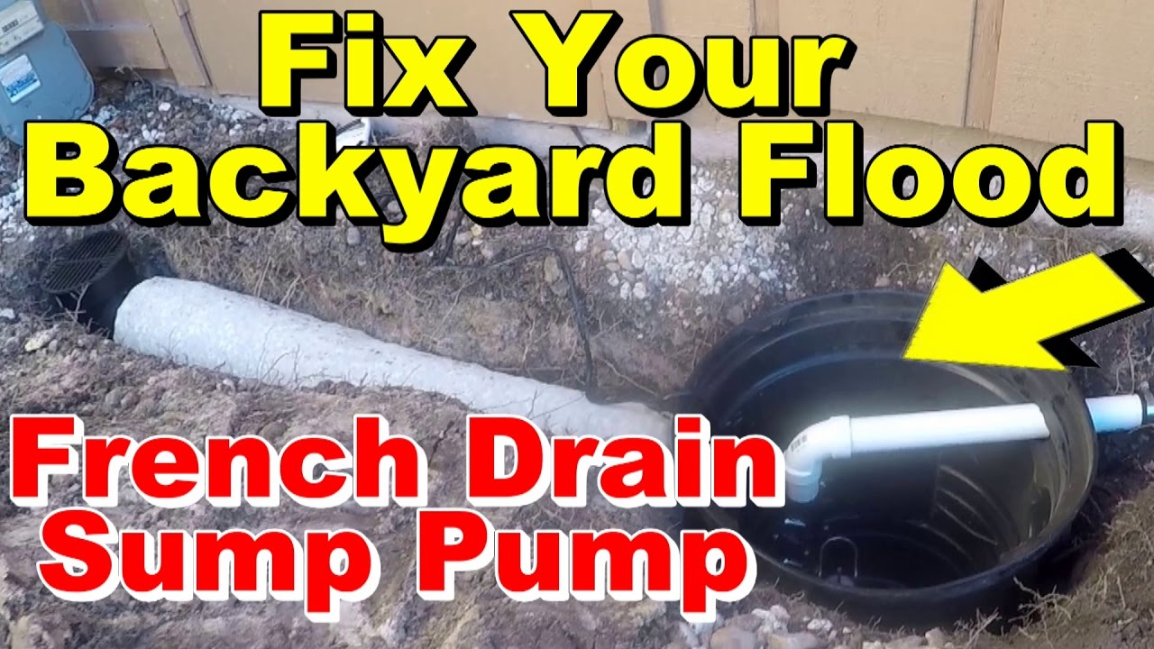 French drain yard drain ez flow with backyard pump fix for Fix drainage in yard