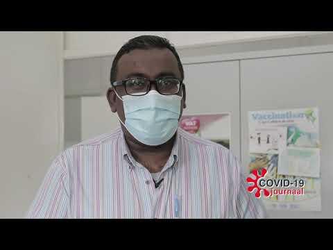 De vooravond van de kickoff van de vaccinatie campagne legt Minister A.Ramadhin zijn statement af