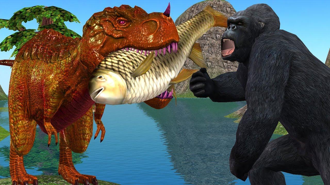 Angry Gorilla 3D Vs Dinosaur Fighting Animation Short Film | Cartoon Animals Funny Short Movie