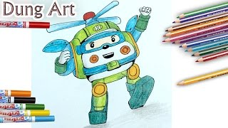Transforming Police Car Poli Fire Truck Roy Robocar | How to draw Toy funny #1