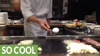 Skillful Teppanyaki chef performs amazing egg trick