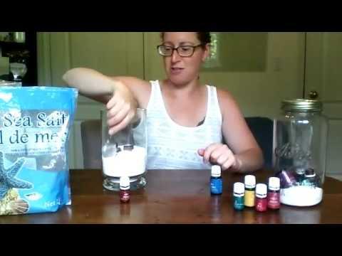 Empty essential oil bottles in epsom salts