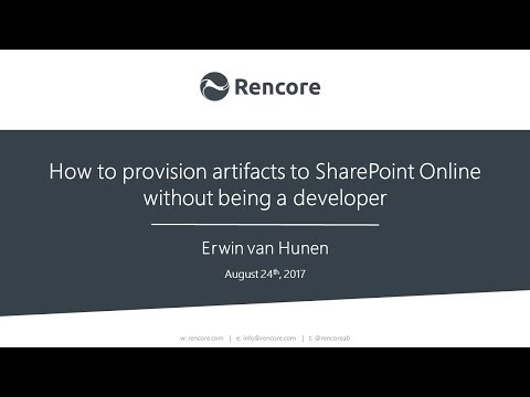 Learn how to provision artifacts to SharePoint Online without being a developer with Erwin van Hunen