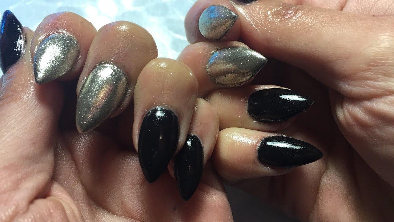 Tutorial Prueba Efecto Espejo Gel Color Y Relleno De Uñas Acrílicas Negro Y Plateado