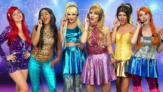 DISNEY PRINCESS POP STARS. (Ariel, Jasmine, Aurora, Belle, Elsa and Anna) Totally TV parody