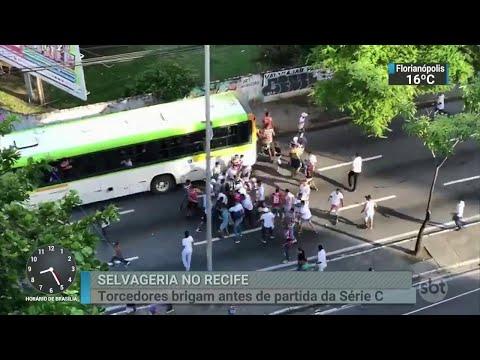 Briga entre torcedores deixa três feridos graves no Recife | SBT Brasil (09/07/18)