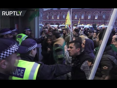 Pro-Kurdish protesters clash with cops, try to break into railway station in London