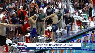 Men's 100y Back A Final | 2019 NCSA Spring Swimming Champs