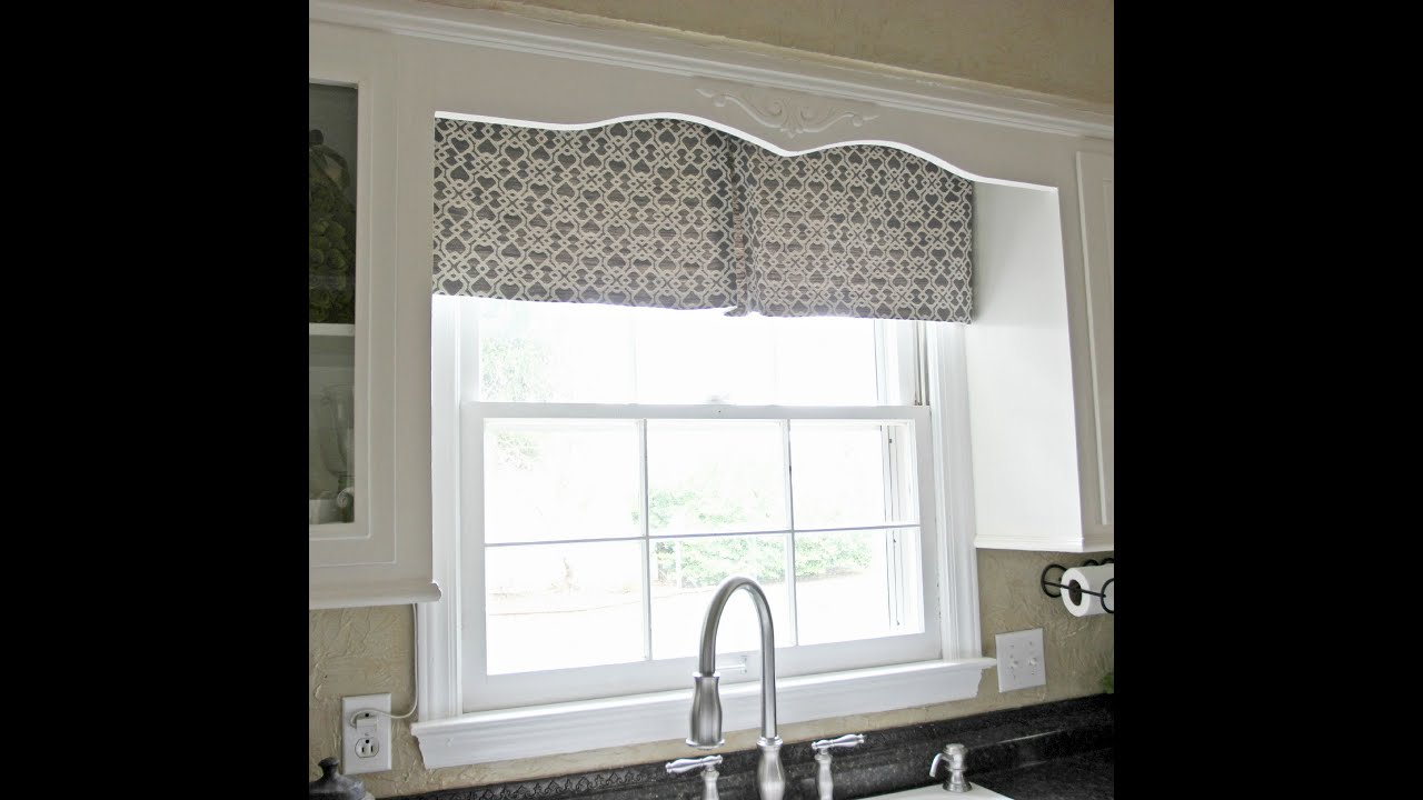 Diy kitchen window curtain youtube for Kitchen window curtains