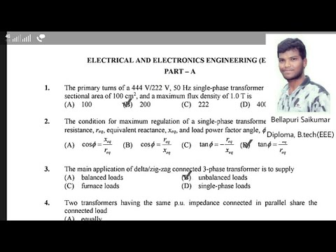 Electrical Assistant Engineer , Sub Engineer previous Paper's Part - 1