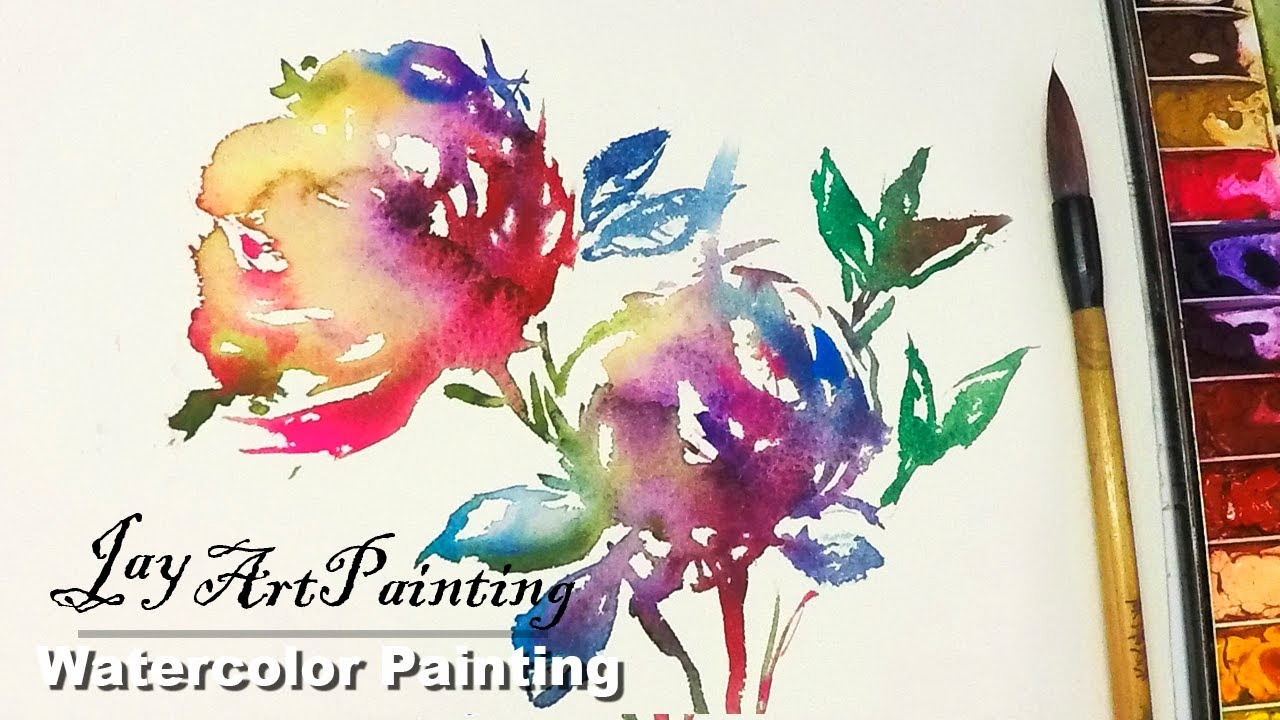 painting abstract flowers in