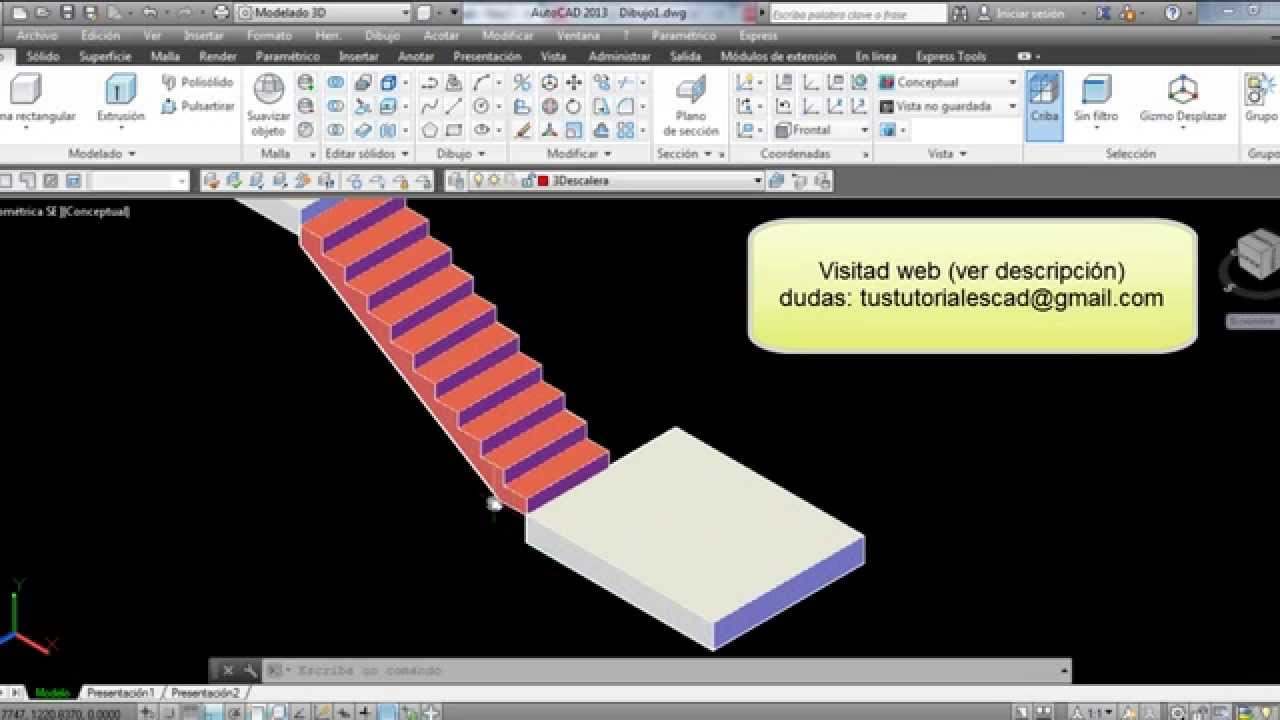 Tutorial autocad dibujar escalera en 3d youtube for Escaleras 3d max