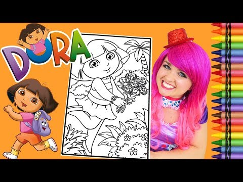 Coloring Dora The Explorer GIANT Coloring Book Page Crayola Crayons | KiMMi THE CLOWN
