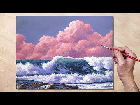 Acrylic Painting Pink Clouds and Waves Seascape