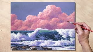 Correa Art - Acrylic Painting Pink Clouds and Waves Seascape - VIDEOOO