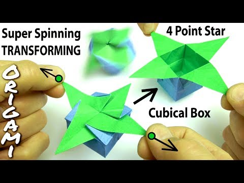Origami Transforming Star Box -- Opens! Closes! Spins when you Blow on it!