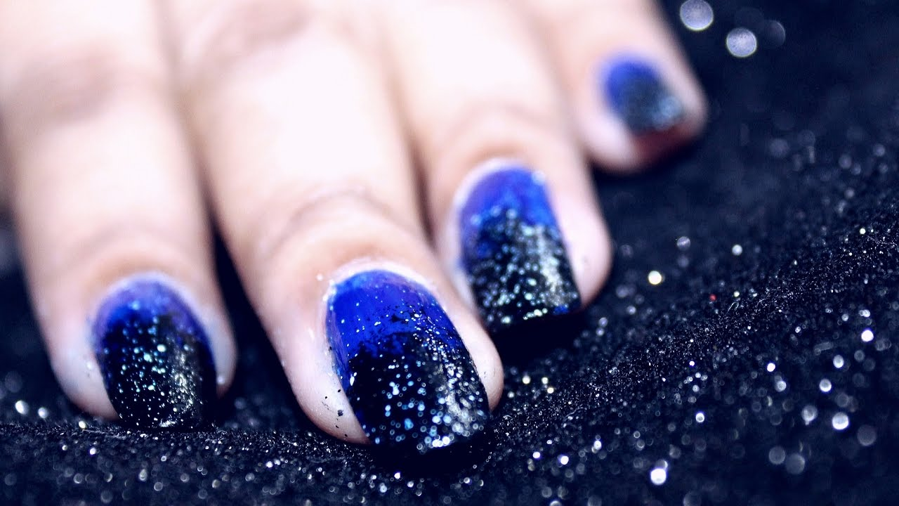 Easy Starry Night Ombre Nail Art With Blue And Black