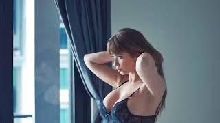 Amazing Emily Addison in black lingerie