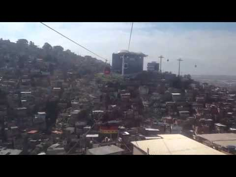 Rio's new Cable Ca, heading up into the Favela.