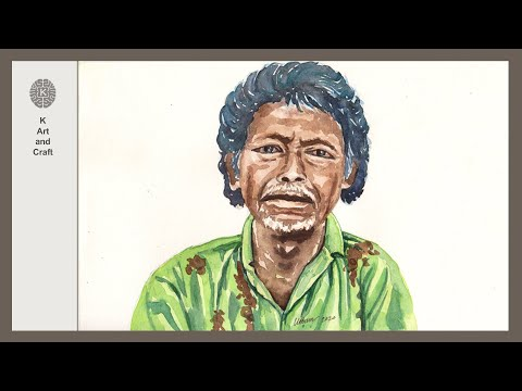 Village man portrait painting/ watercolor man face drawing/ how to paint a general people face