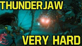 Horizon Zero Dawn gameplay - KILLING Thunderjaw on VERY HARD (Horizon Zero Dawn Thunderjaw guide)